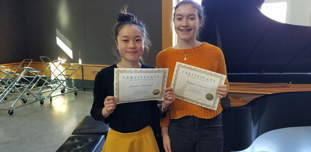 Margaux Parsons and Jasmine Darmadi, Eugene District Ensemble Festival, November, 2018.